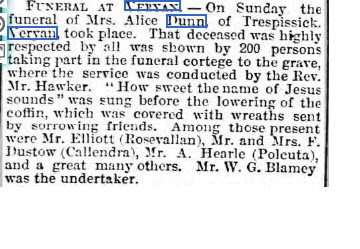 Alice Dunn funeral notice April 1898