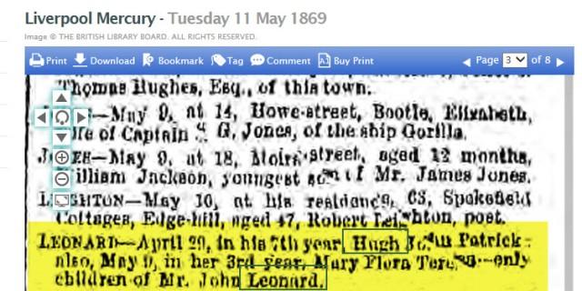 Georgina Leonard's children's obit 1869