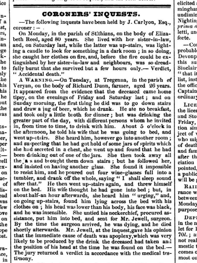 Inquest-Richard Dunn 1849