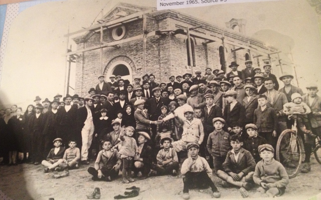 Opening of Church in Azzano with locals in front.JPG