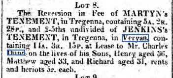 royal cornwall gazette June 14,1828 Charles Dunn Tregenna
